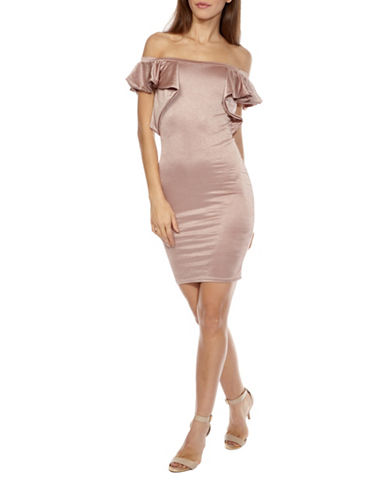 Tfnc Naelle Off-the-Shoulder Bodycon Dress-NUDE-X-Small 89368091_NUDE_X-Small