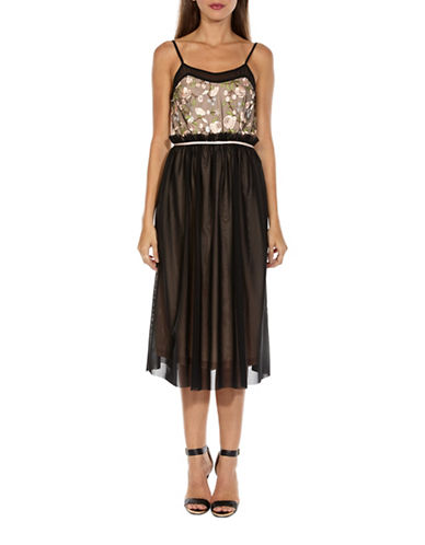 Tfnc Elysha Embroidered A-Line Midi Dress-BLACK-Medium