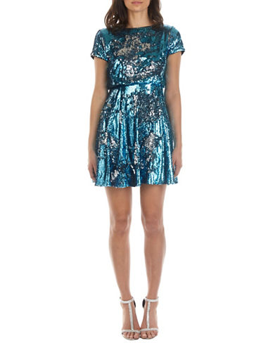 Tfnc Thea Sequined Skater Dress-BLUE-Small
