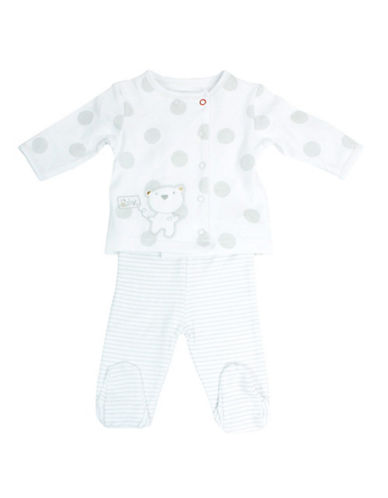 Petit Lem Two Piece Bear Print Footed Pyjama-GREY-Newborn