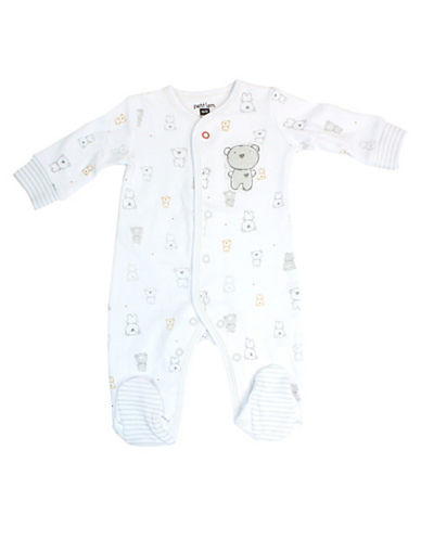 Petit Lem Bear Print Footed Sleeper-GREY-6 Months