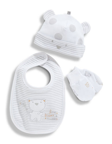 Petit Lem Infant Boys 3 Piece Bib Set-WHITE-One Size