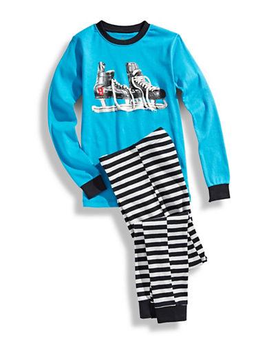 Petit Lem Boys 8 to 20 Hockey Pyjamas with Striped Pants-BLUE-8