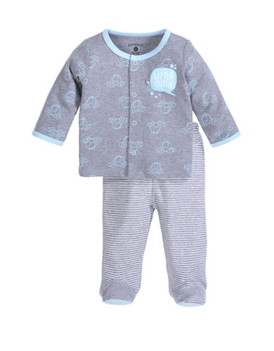 Petit Lem Baby Boy 2-Piece Set:  Cardigan And Pant-GREY-6 Months