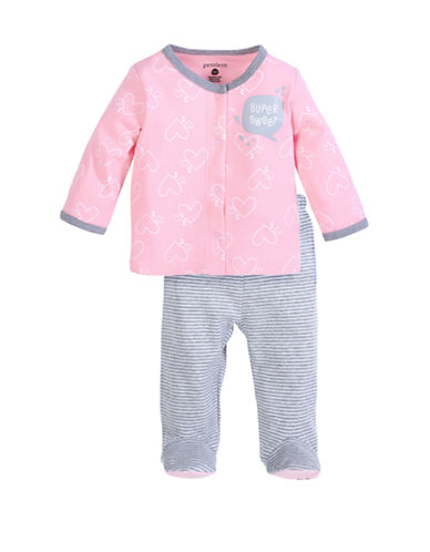 Petit Lem Baby Girl 2-Piece Set:  Cardigan And Pant-PINK-3 Months