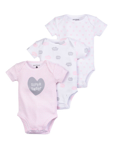 Petit Lem Baby Girl Diaper Shirts 3-Pack-WHITE/PINK-3 Months