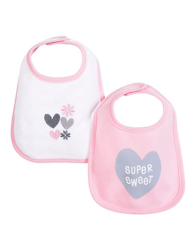 Petit Lem Heart Printed Bib 2-Pack-PINK-One Size