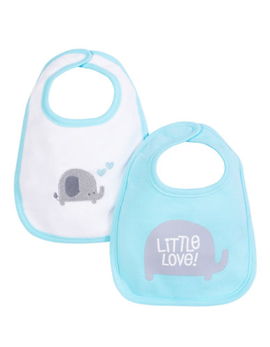 Petit Lem Elephant Printed Bib 2-Pack-TEAL-One Size