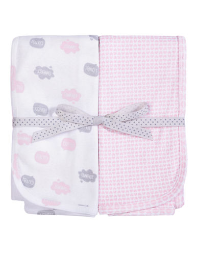 Petit Lem Printed Blanket 2-Pack-PINK-One Size