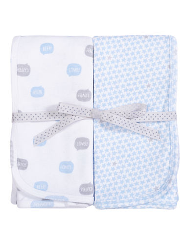Petit Lem Printed Blanket 2-Pack-BLUE-One Size