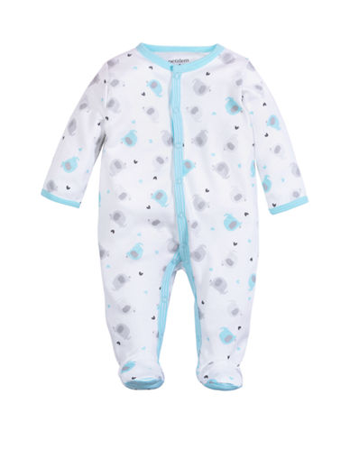 Petit Lem Sleeper With Elephant Print-WHITE/TEAL-Newborn