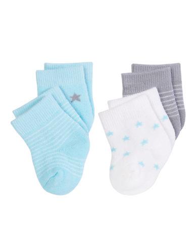 Petit Lem Unisex Baby Socks 4-Pack-TEAL-3-6 Months