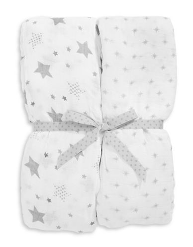 Petit Lem Two-Pack Swaddling Blankets-WHITE-One Size