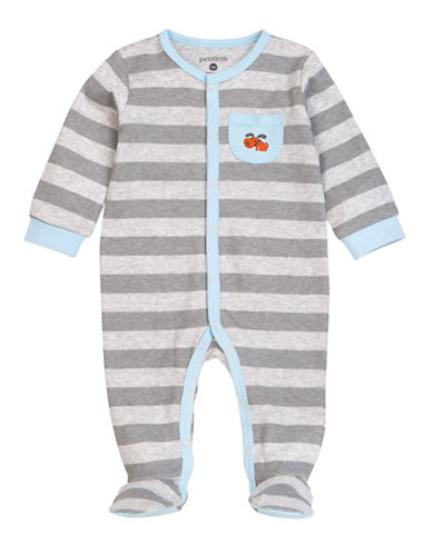 Petit Lem Puppy Stripe Footed Sleeper-GREY-3 Months