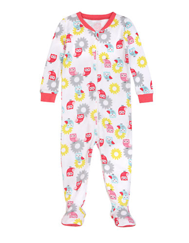 Petit Lem Owl Dot Footed Sleeper-PINK-12 Months