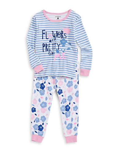Petit Lem Flower Pyjama Set-BLUE MULTI-12 Months