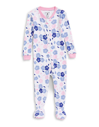 Petit Lem Flower Ringer Footed Sleeper-WHITE-18 Months