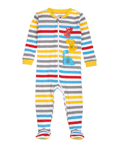 Petit Lem Striped Dinosaur Footed Sleeper-WHITE-9 Months