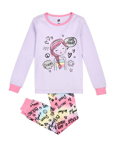 Petit Lem Two-Piece Girl Power Long Sleeve Pyjama Set-LILAC-3