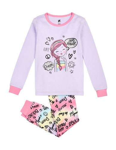 Petit Lem Two-Piece Girl Power Long Sleeve Pyjama Set-LILAC-10
