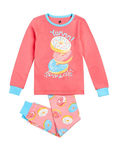 Petit Lem Two-Piece Donut Long Sleeve Pyjama Set-PINK-5