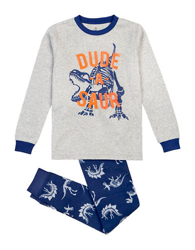 Petit Lem Two-Piece Dude-A-Saur Long Sleeve Pyjama Set-GREY-8