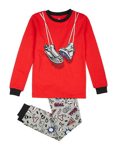 Petit Lem Two-Piece Soccer Long Sleeve Pyjama Set-RED-5