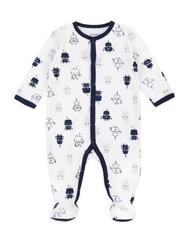 Petit Lem Essentials Robot-Print Footed Sleeper-WHITE-6 Months