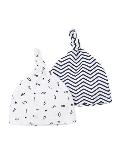 Petit Lem Essentials Two-Piece Knit Hat Set-WHITE/BLUE-0-3 Months