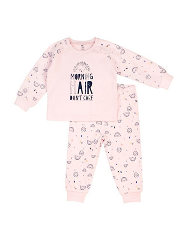 Petit Lem Two-Piece Morning Hair Dont Care Cotton Pajama Set-PINK-12 Months