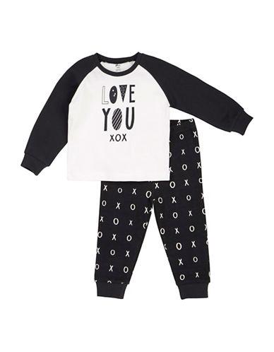 Petit Lem Two-Piece Love You XOXO Pyjama Set-WHITE-12 Months