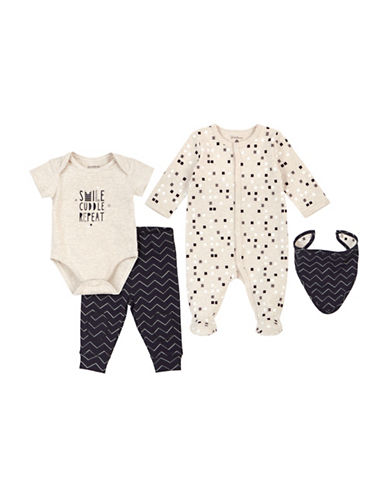 Petit Lem Four-Piece Smile Cotton Sleeper Set-WHITE-6 Months