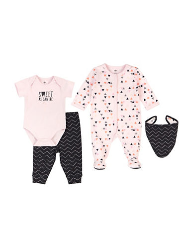 Petit Lem Four-Piece Sweet Cotton Sleeper Set-PINK-3 Months