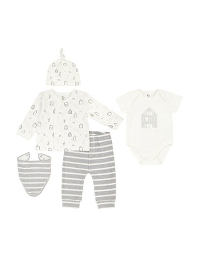 Petit Lem Five-Piece Home Sweet Home Hat, Bodysuit, Bib, Pants and Cardigan Set-WHITE-6 Months