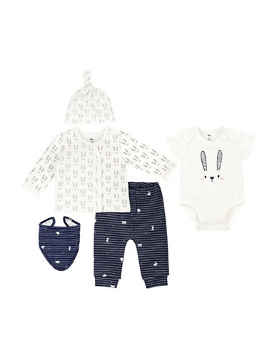 Petit Lem Five-Piece Bunny-Print Pant Set-WHITE-Newborn