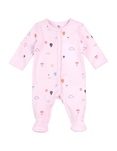 Petit Lem Clouds Cotton Footie-PINK-6 Months