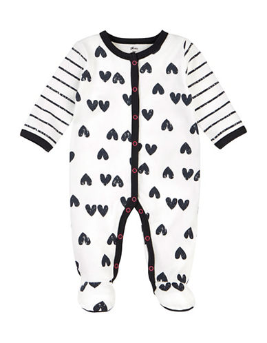 Petit Lem Hearts Cotton Footie-WHITE-6 Months
