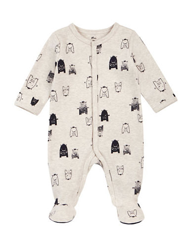 Petit Lem Hug Monster Cotton Footie-VANILLA-24 Months