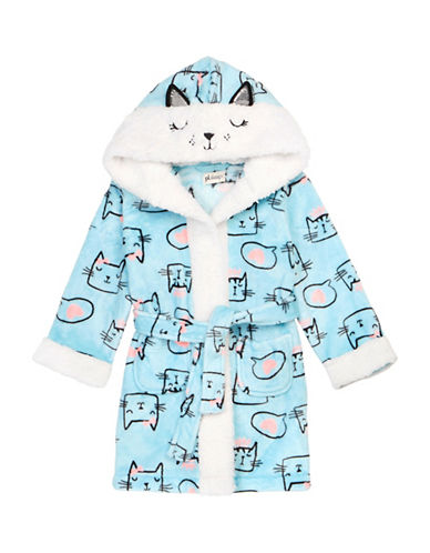 Petit Lem Cats Hooded Robe-BLUE-6X
