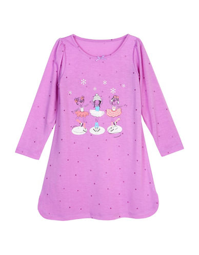 Petit Lem Ice Princess Skating Sleep Shirt-PURPLE-6