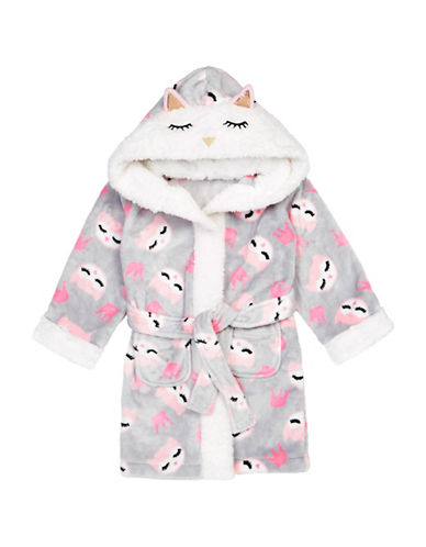Petit Lem Owl Themed Robe-GREY-3
