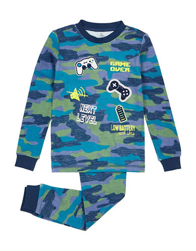 Petit Lem Video Game Bear Pyjama Set-BLUE-14