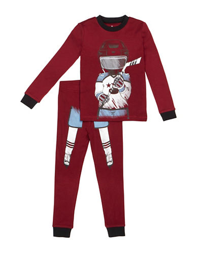 Petit Lem Two-Piece Hockey Player Pajama Set-RED-4