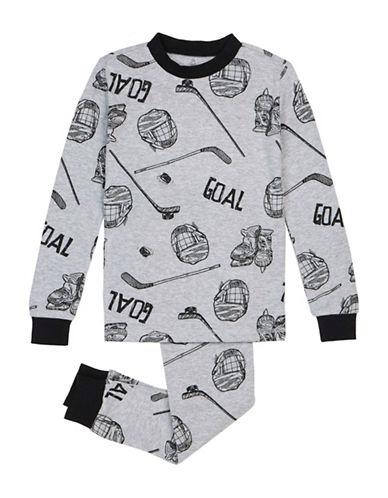 Petit Lem Two-Piece Pajama Hockey Theme Set-GREY-14