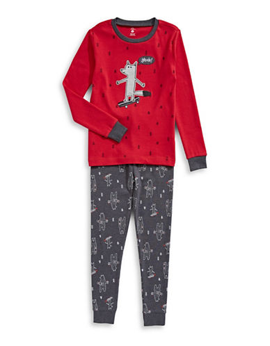 Petit Lem Two-Piece Long Sleeve Top and Pants Set-RED-3