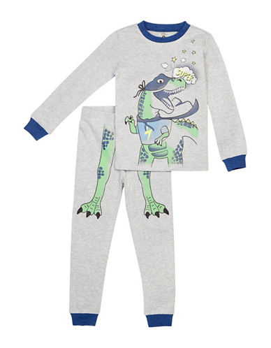 Petit Lem Two-Piece Super Dino Pajama Set-GREY-5