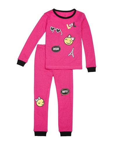 Petit Lem Two-Piece Emoji Paris Pajama Set-PINK-8
