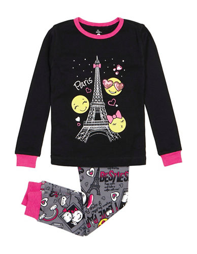 Petit Lem Two-Piece Emoji Paris Pajama Set-BLACK-14