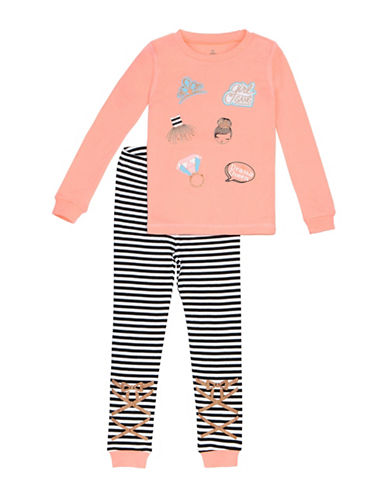 Petit Lem Two-Piece Sparkle Pajama Set-ORANGE-4