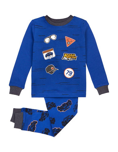 Petit Lem Two-Pieced Racing Pajama Set-BLUE-4